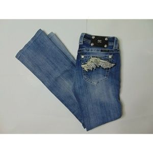 Miss Me 28 Boot Blue Jeans Distressed Embroidered